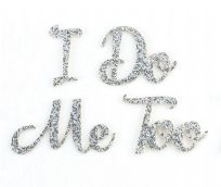 I Do & Me Too Silver Glitter Wedding Shoe Stickers